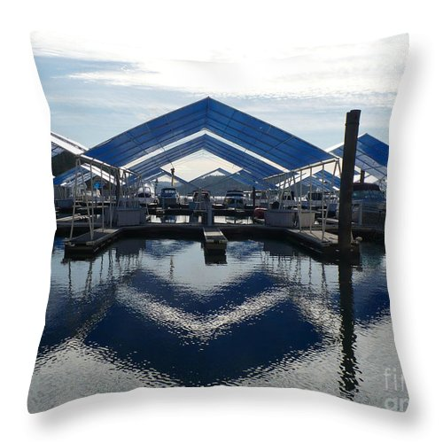 Boats Throw Pillow featuring the photograph Boat Reflection On Lake Coeur D'alene by Carol Groenen