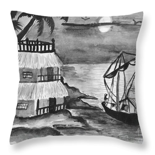 Nature Throw Pillow featuring the painting Boat Sailing In Moon Light by Tanmay Singh