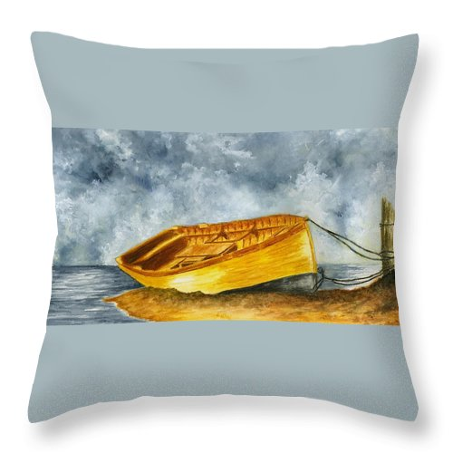 Boat Throw Pillow featuring the painting Boat Tied To The Post by Michael Vigliotti
