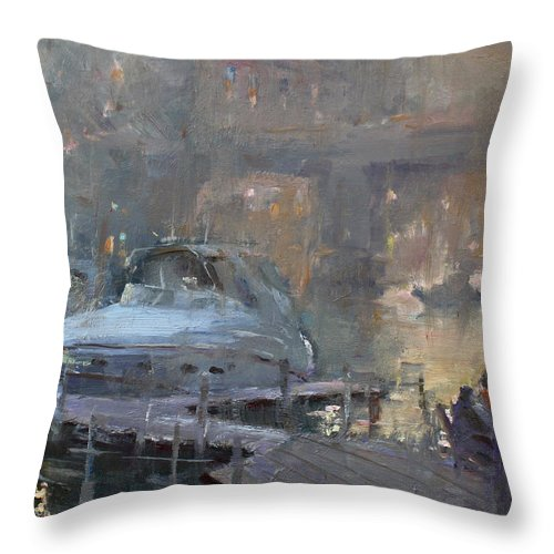 Boaters At Dusk Throw Pillow featuring the painting Boaters At Dusk by Ylli Haruni