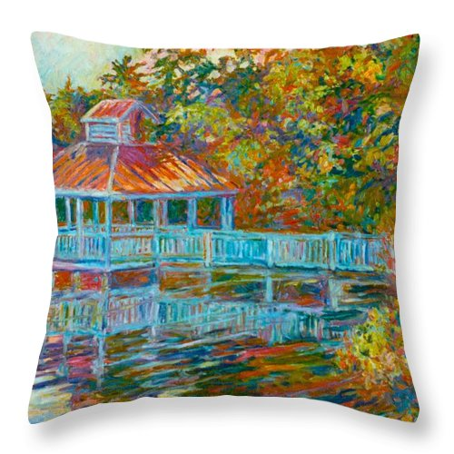 Mountain Lake Throw Pillow featuring the painting Boathouse At Mountain Lake by Kendall Kessler