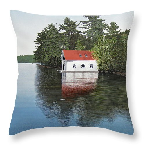 Canoe Throw Pillow featuring the painting Boathouse by Kenneth M Kirsch