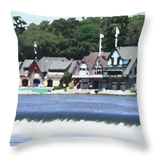 Boathouse Throw Pillow featuring the photograph Boathouse Row - Palette Knife by Lou Ford