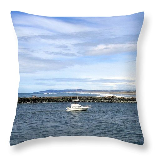 Boat Throw Pillow featuring the photograph Boating At Bandon by Will Borden
