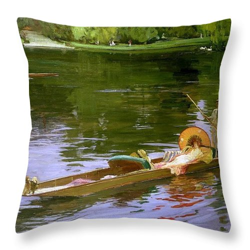 Water Throw Pillow featuring the digital art Boating Scene At Maidenhead Sir John Lavery by Eloisa Mannion