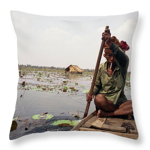 Cambodia Throw Pillow featuring the photograph Boatman - Battambang by Patrick Klauss