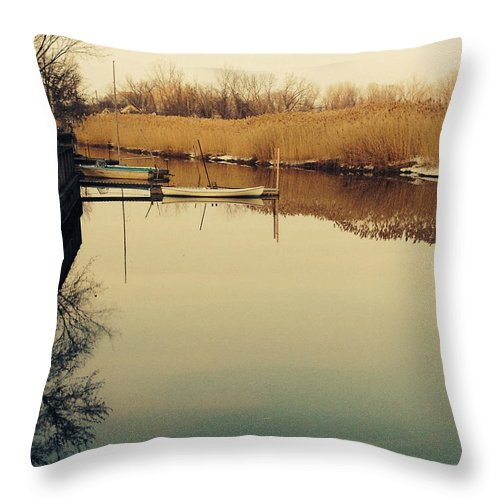 Boats Throw Pillow featuring the photograph Boats At The Pier by J D Lee