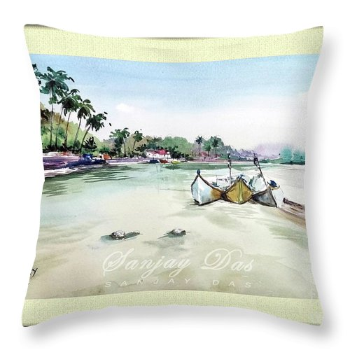 Watercolor Throw Pillow featuring the painting Boats In Beach by Sanjay Das