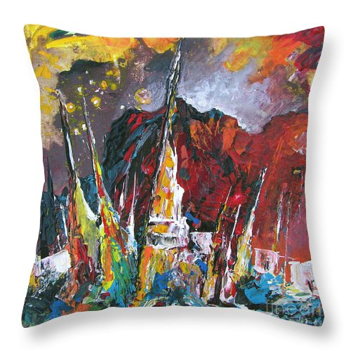 Boats Painting Seacape Spain Acrylics Calpe Costa Blanca Throw Pillow featuring the painting Boats In Calpe 01 Spain by Miki De Goodaboom