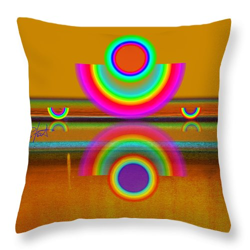 Reflections Throw Pillow featuring the painting Boats In Ochre by Charles Stuart