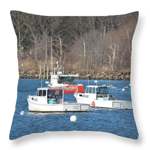 Boats Throw Pillow featuring the photograph Boats In Rye Harbor by Jo-Ann Matthews