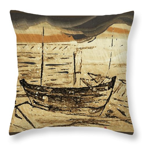 Storm Throw Pillow featuring the mixed media Boats In Storm by Mayank Chhaya
