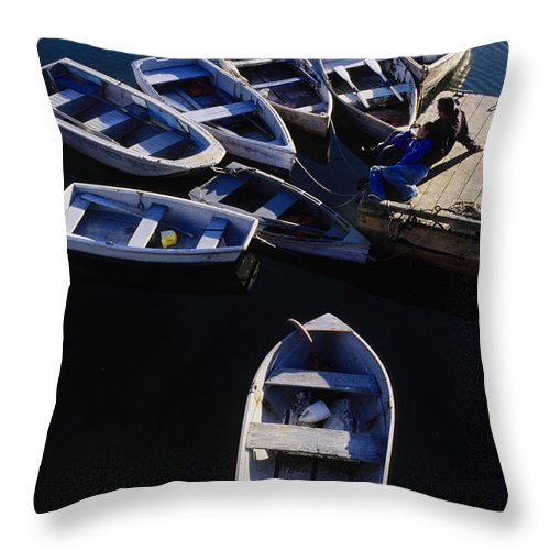 Boats Throw Pillow featuring the photograph Boats Moored At Dock by Steve Somerville