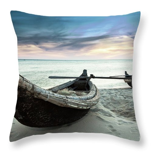Wooden Throw Pillow featuring the photograph Boats by MotHaiBaPhoto Prints