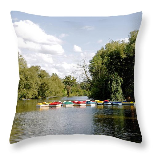 Markeaton Park Throw Pillow featuring the photograph Boats On Markeaton Lake by Rod Johnson