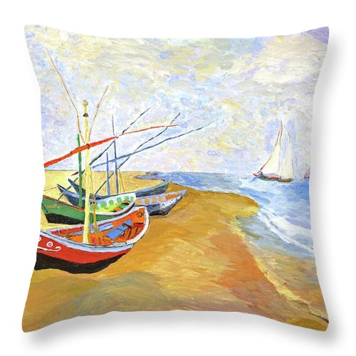 van Gogh Throw Pillow featuring the painting Boats On The Beach At Saintes-maries After Van Gogh by Rodney Campbell
