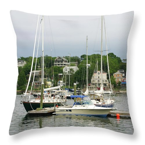 Boats Throw Pillow featuring the photograph Boats Rocky Neck Art Colony Gloucester Massachusetts by Michelle Constantine