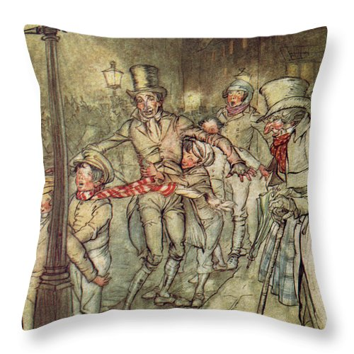 Bob Cratchit Throw Pillow featuring the drawing Bob Cratchit Went Down A Slide On Cornhill by Arthur Rackham