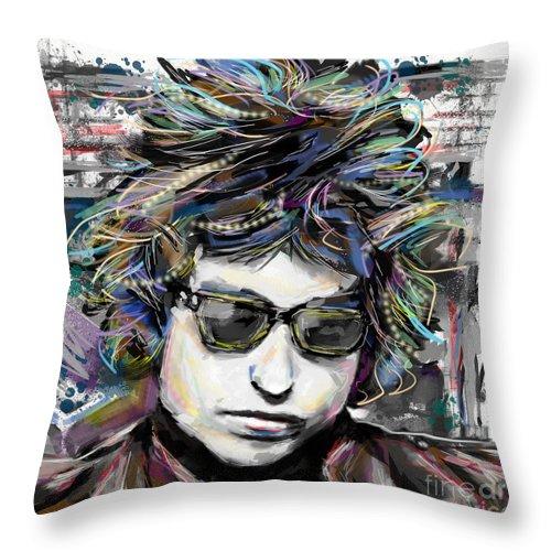Bob Dylan Throw Pillow featuring the mixed media Bob Dylan Art by Ryan Rock Artist