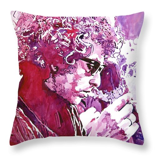 Bob Dylan Throw Pillow featuring the painting Bob Dylan by David Lloyd Glover