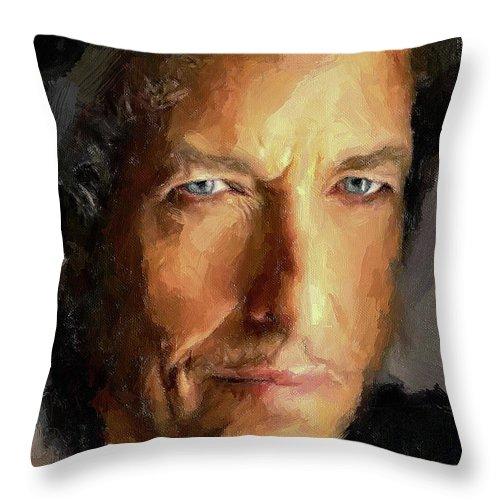Bob Throw Pillow featuring the digital art Bob Dylan Impressive by Yury Malkov