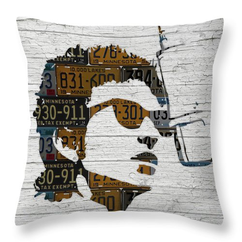 Bob Dylan Throw Pillow featuring the mixed media Bob Dylan Minnesota Native Recycled Vintage License Plate Portrait On White Wood by Design Turnpike