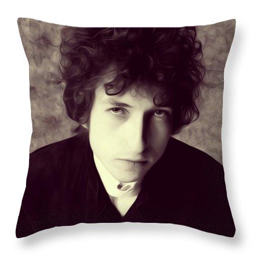 Bob Throw Pillow featuring the digital art Bob Dylan, Music Legend by Esoterica Art Agency