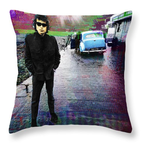 Bob Dylan Throw Pillow featuring the painting Bob Dylan No Direction Home 1 by Tony Rubino