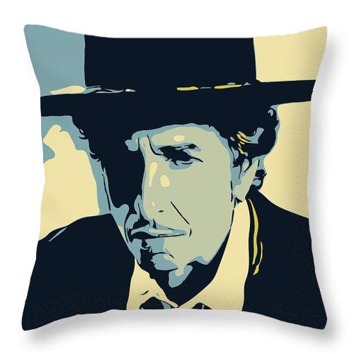 Bob Dylan Throw Pillow featuring the digital art Bob Dylan by Greatom London