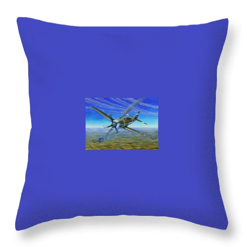 Bob Johnsons P-47 On October 10 Throw Pillow featuring the painting Bob Johnsons Thunderbolt by Scott Robertson
