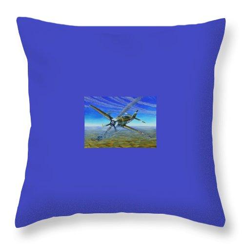 Bob Johnsons P-47 On October 10 Throw Pillow featuring the painting Bob Johnsons Thunderbolt by Scott Robertson