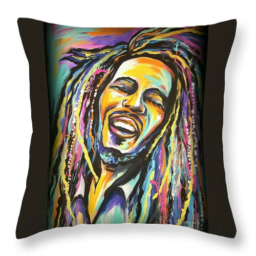 Bob Marley Throw Pillow featuring the painting Bob Marley by Amy Belonio