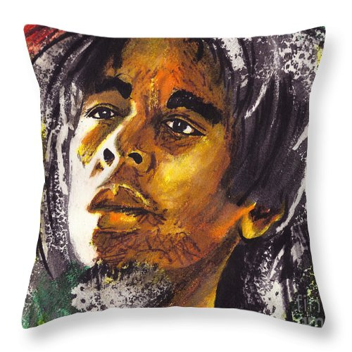 Male Throw Pillow featuring the painting Bob Marley by Marcella Muhammad