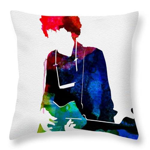 Bob Dylan Throw Pillow featuring the painting Bob Watercolor by Naxart Studio