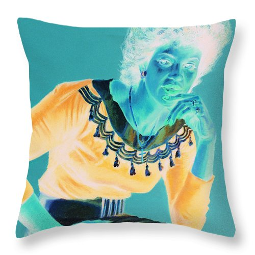 Portrait Throw Pillow featuring the painting Bobbi by Jean Hildebrant