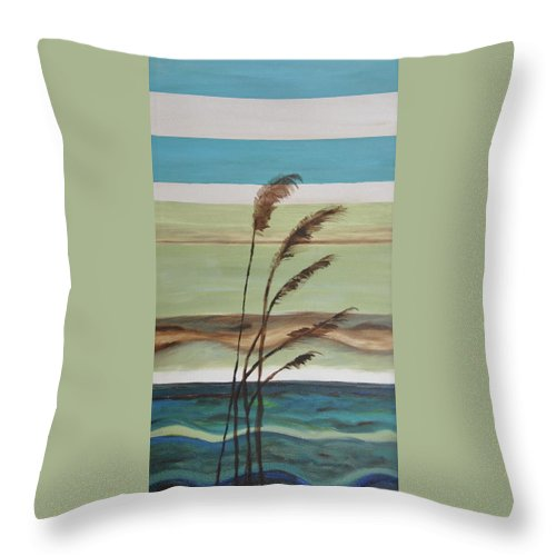 Ocean Throw Pillow featuring the painting Bob's Beach by Debbie Frame Weibler