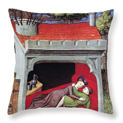 1430 Throw Pillow featuring the photograph Boccaccio: Lovers, C1430 by Granger