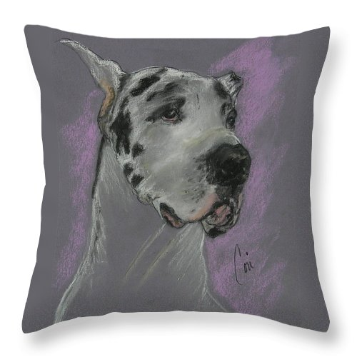 Great Dane Throw Pillow featuring the drawing Bodhi's Mystique by Cori Solomon