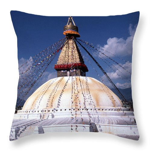 Bodhnath Stupa Throw Pillow featuring the photograph Bodhnath Stupa by Patrick Klauss