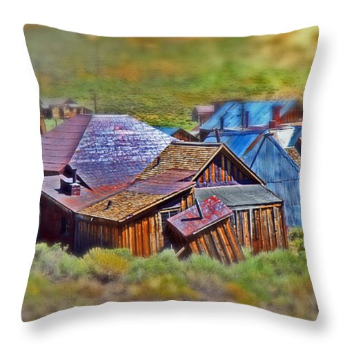 Bodie Ghost Town Throw Pillow featuring the photograph Bodie Ghost Town by Chris Brannen