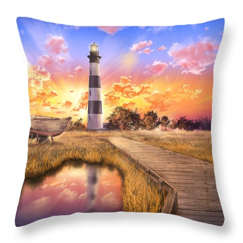 Lighthouse Throw Pillow featuring the photograph Bodie Island Lighthouse by Bekim M
