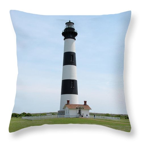 Bodie Lighthouse Throw Pillow featuring the photograph Bodie Lighthouse Nags Head Nc II by Brett Winn