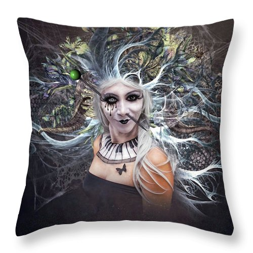 Body Piercing Throw Pillow featuring the mixed media Body Piercing by G Berry