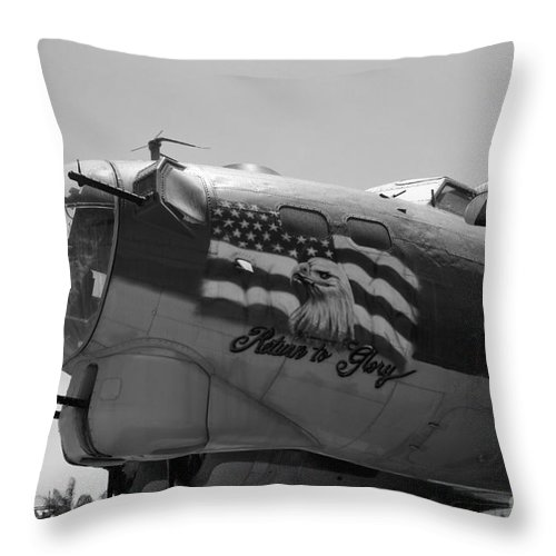 Boeing Throw Pillow featuring the photograph Boeing B-17g Flying Fortress Nose Art by Tommy Anderson