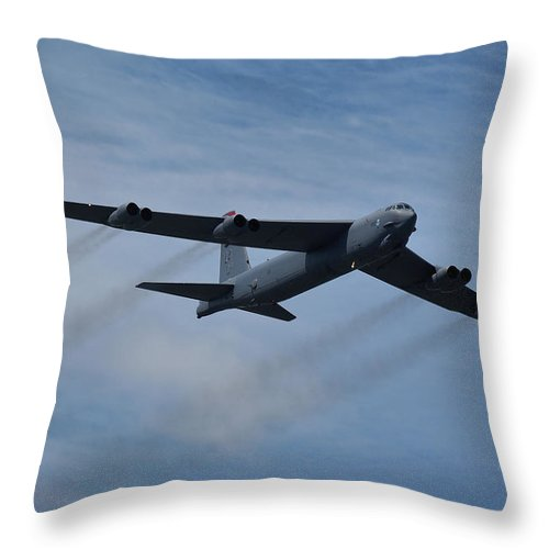 Usaf Throw Pillow featuring the photograph Boeing B-52h Stratofortress by Tim Beach
