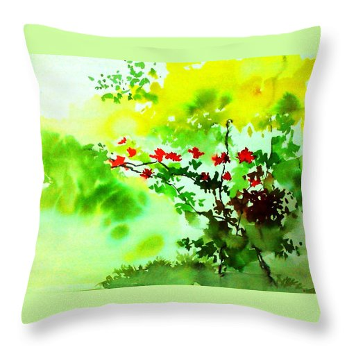 Floral Throw Pillow featuring the painting Boganwel by Anil Nene