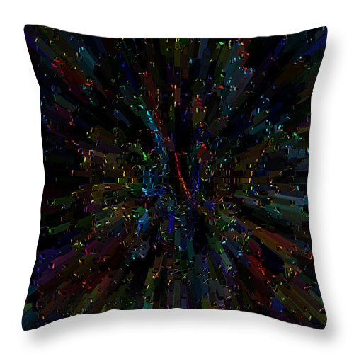 Abstract Color Colorful Colour Rainbow Explosion Expressive Throw Pillow featuring the digital art Boggled by Andrea Lawrence