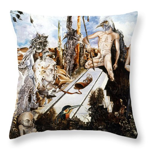 Surrealism Throw Pillow featuring the painting Bogomils Court by Otto Rapp