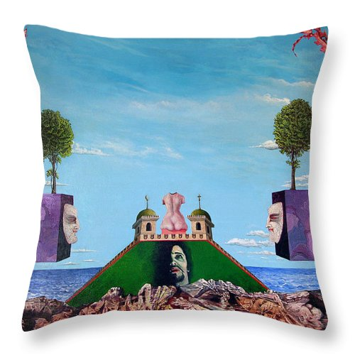 Painting Throw Pillow featuring the painting Bogomils Monastic Retreat by Otto Rapp