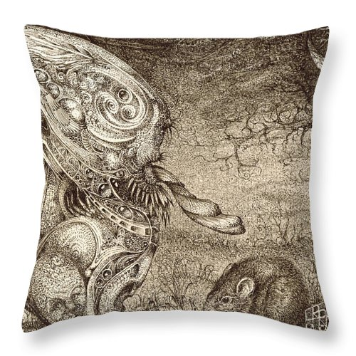 Surreal Throw Pillow featuring the drawing Bogomils Mousetrap by Otto Rapp